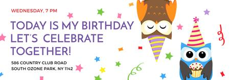 Plantilla de diseño de Birthday Invitation with Party Owls Tumblr