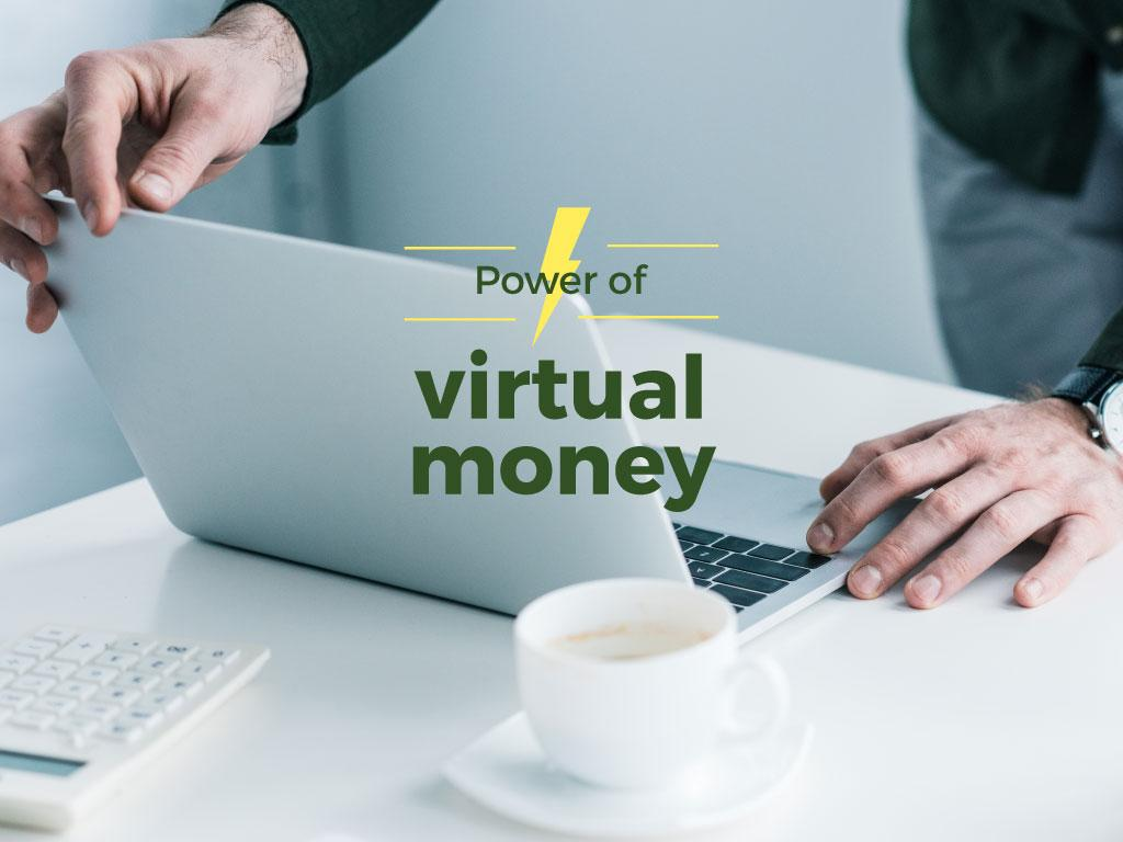 Virtual Money Concept Man Working on Laptop | Presentation Template — Створити дизайн