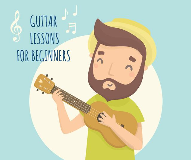 Ontwerpsjabloon van Facebook van Happy Man playing ukulele