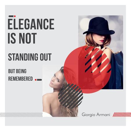 Shopping Quote Stylish Woman in Hat Instagram AD Design Template