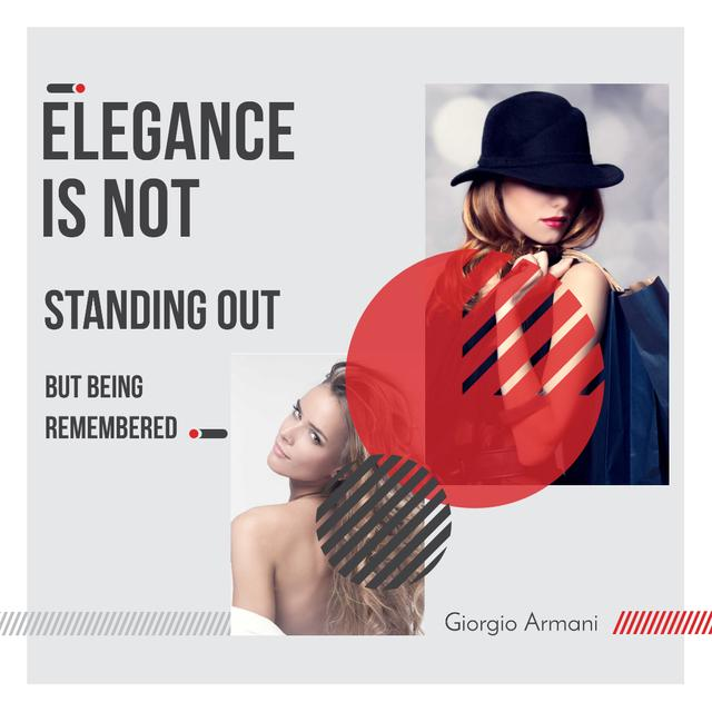 Modèle de visuel Shopping Quote Stylish Woman in Hat - Instagram AD