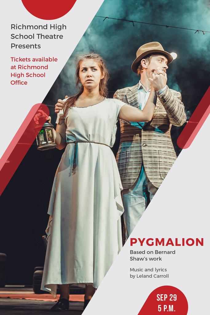 Theater Invitation with Actors in Pygmalion Performance Pinterest Tasarım Şablonu