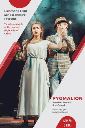 Designvorlage Theater Invitation with Actors in Pygmalion Performance für Pinterest