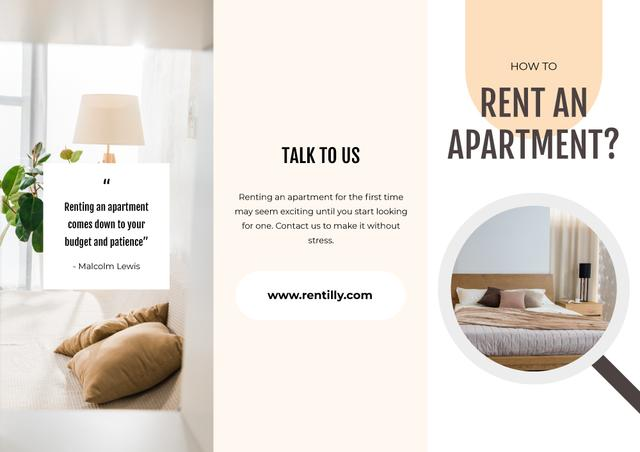 How to rent an apartment Brochure with Cozy light Room Brochure Modelo de Design