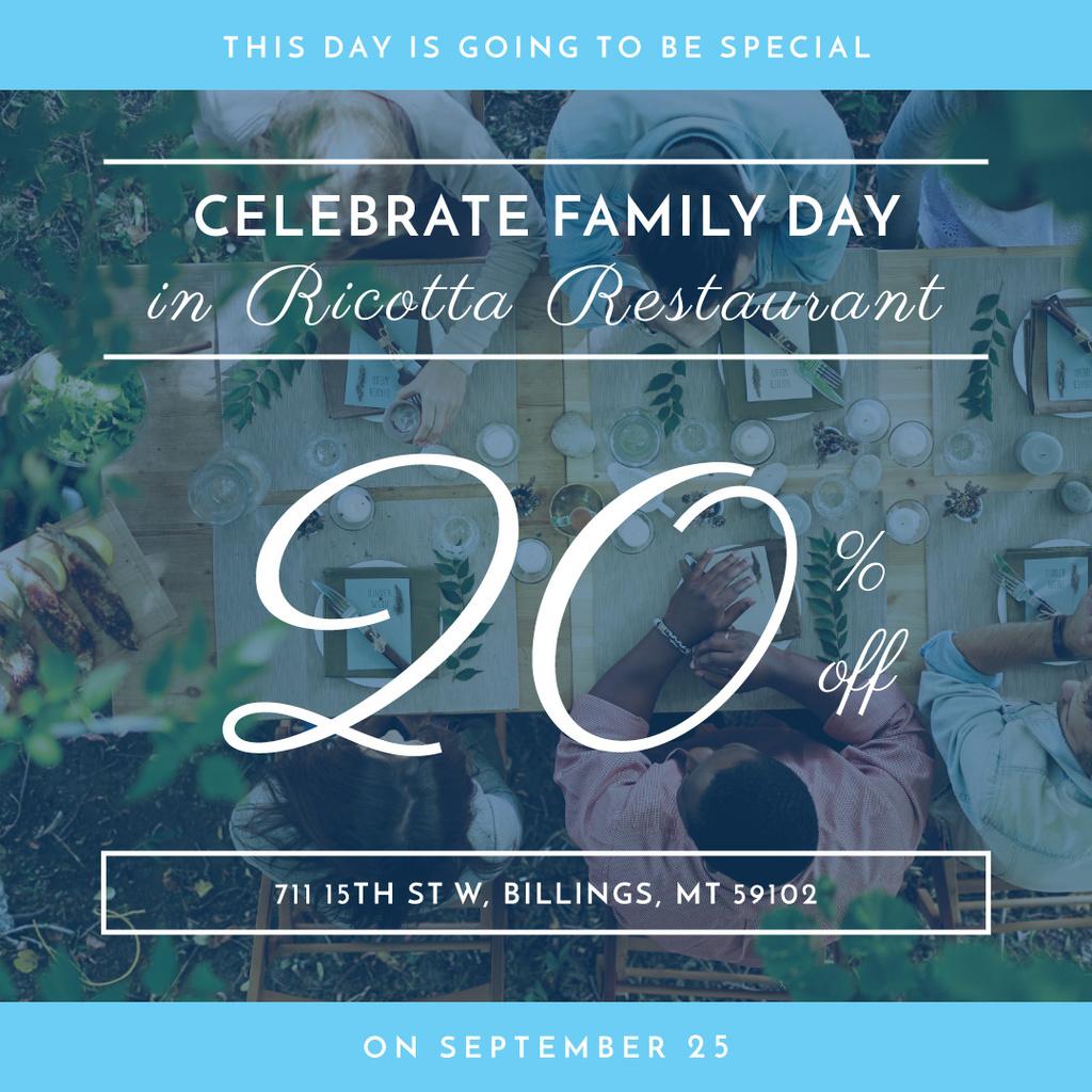 discount card for celebrating family day in restaurant — ein Design erstellen
