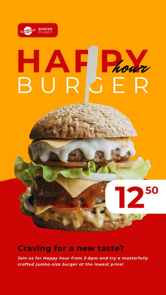 Happy Hour Offer Mouthwatering Burger — Create a Design