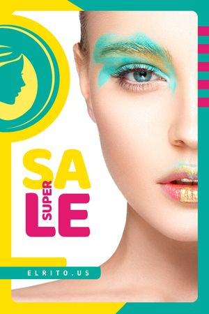 Plantilla de diseño de Cosmetics Sale Woman with Creative Makeup Tumblr