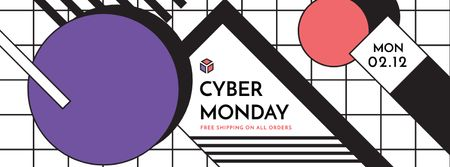Cyber monday sale Annoucement Facebook cover Modelo de Design