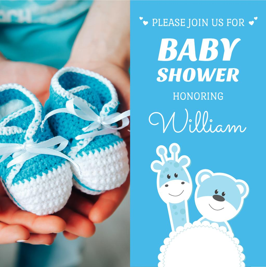 Baby Shower with Pregnant woman with baby's bootees — Crea un design