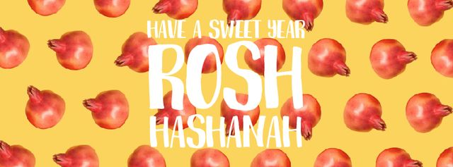 Rosh Hashanah template with rotating pomegranates Facebook Video cover Design Template