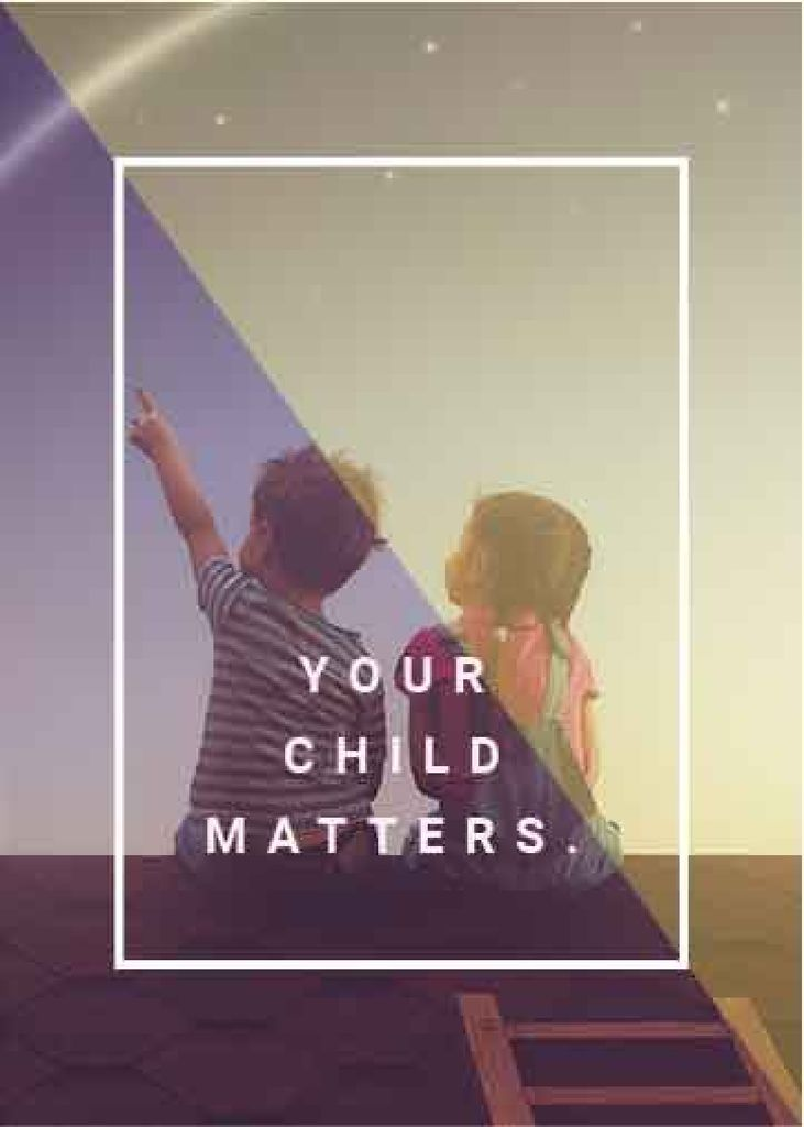 your child matters poster with two children sitting on roof — Створити дизайн
