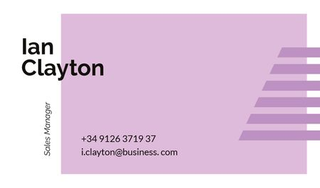 Sales Manager Contacts with Geometrical Frame in Purple Business card Tasarım Şablonu