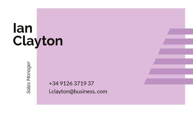Sales Manager Contacts with Geometrical Frame in Purple Business card Modelo de Design