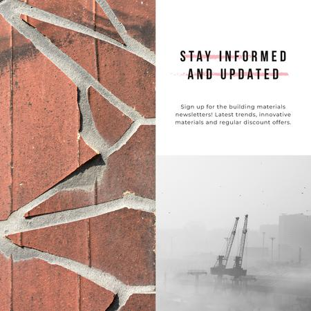 Industry News with Crane at construction site Instagram AD Modelo de Design