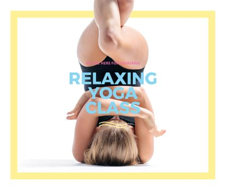 Plantilla de diseño de Woman exercising at Yoga Class Facebook