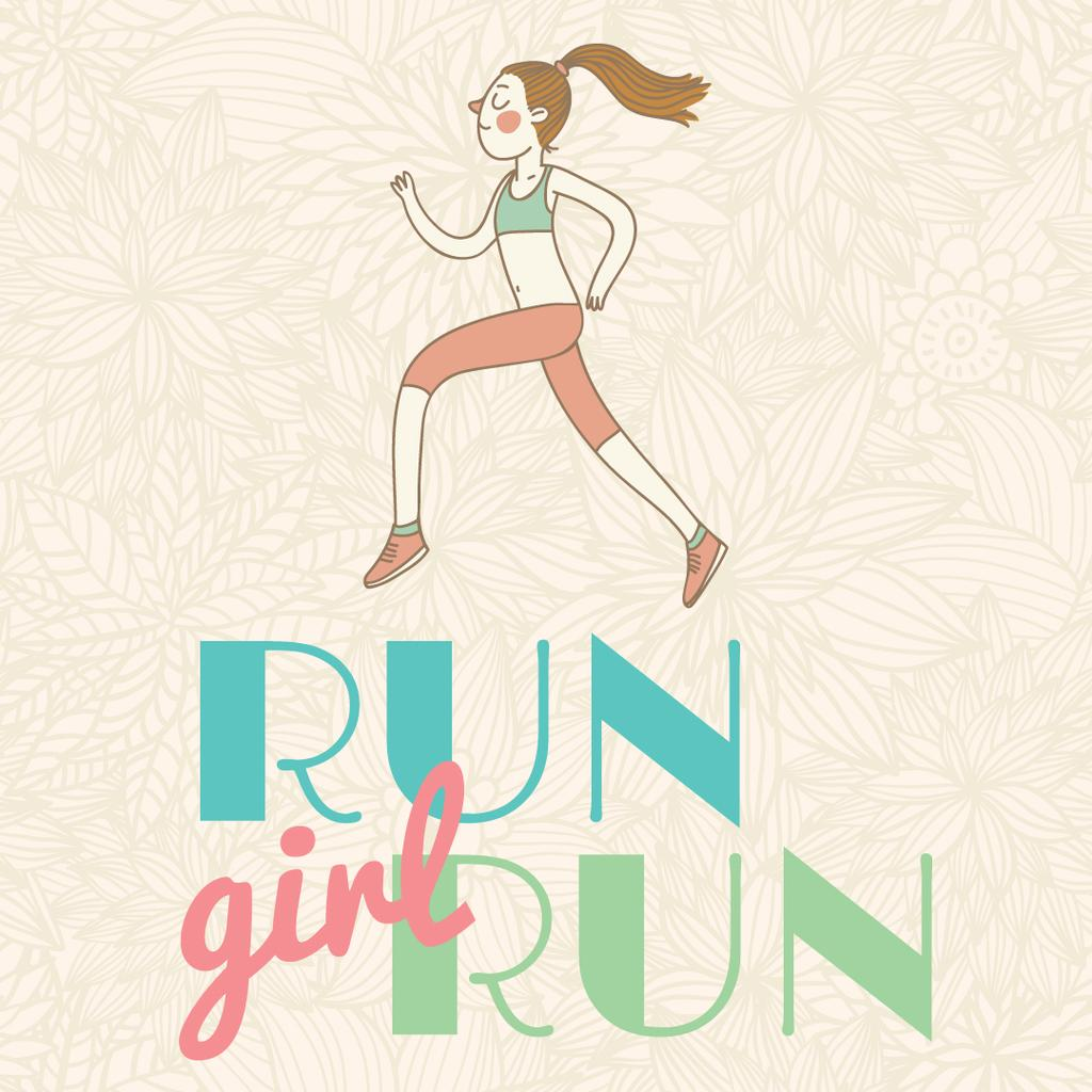Motivational Sports Quote with Running Woman — Crear un diseño