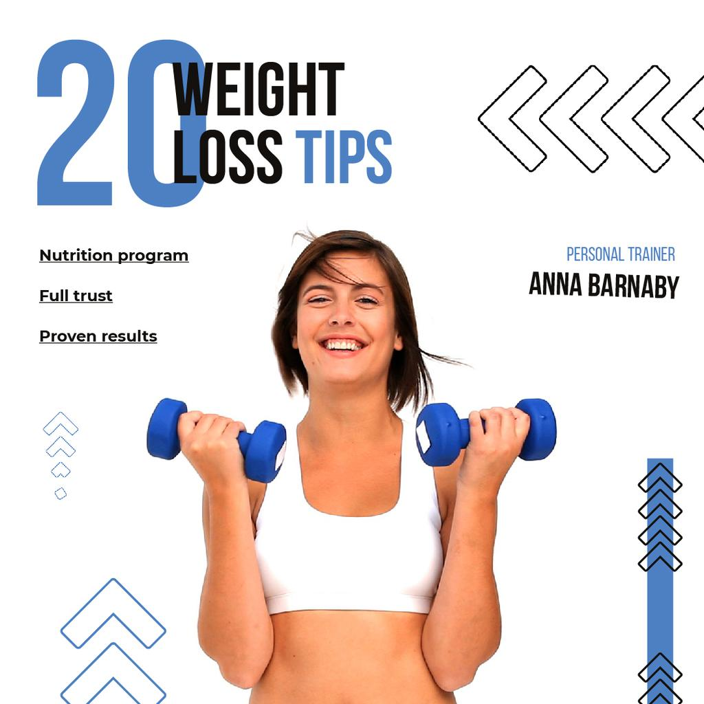 Woman Training with Dumbbells for Weight Loss — Create a Design