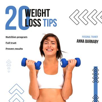 Woman Training with Dumbbells for Weight Loss | Square Video Template