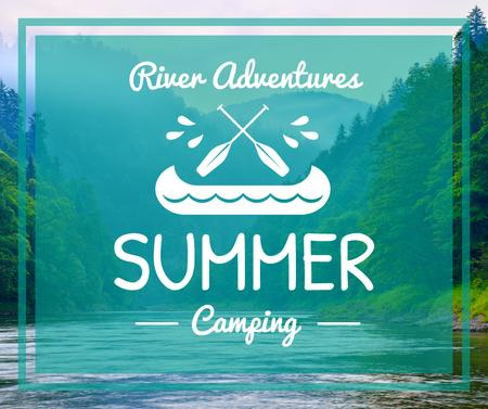 Rafting Tour Offer Scenic Mountains View Facebook Design Template