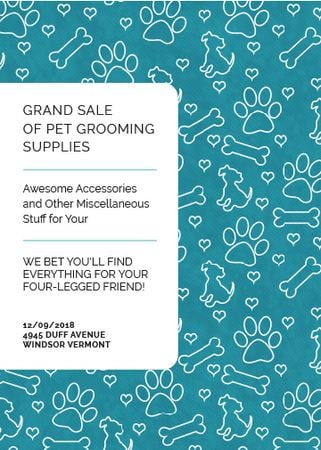 Plantilla de diseño de Pet Grooming Supplies Sale with animals icons Flayer