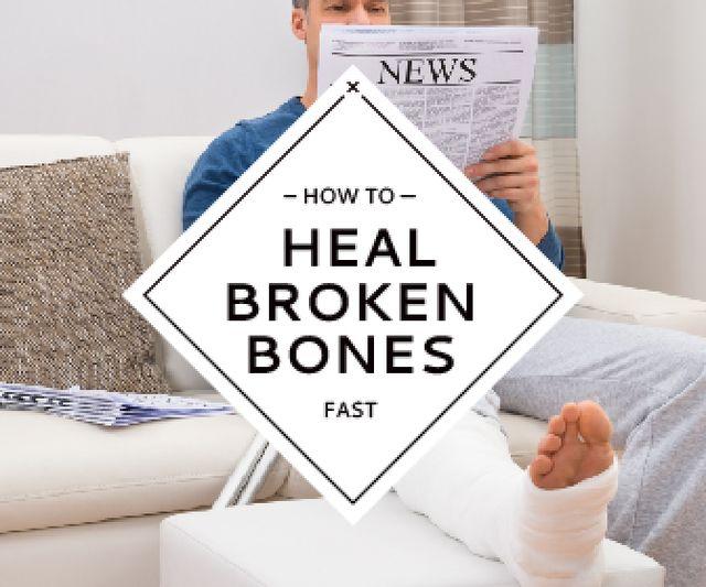 Ontwerpsjabloon van Large Rectangle van Man with broken bones sitting on sofa reading newspaper