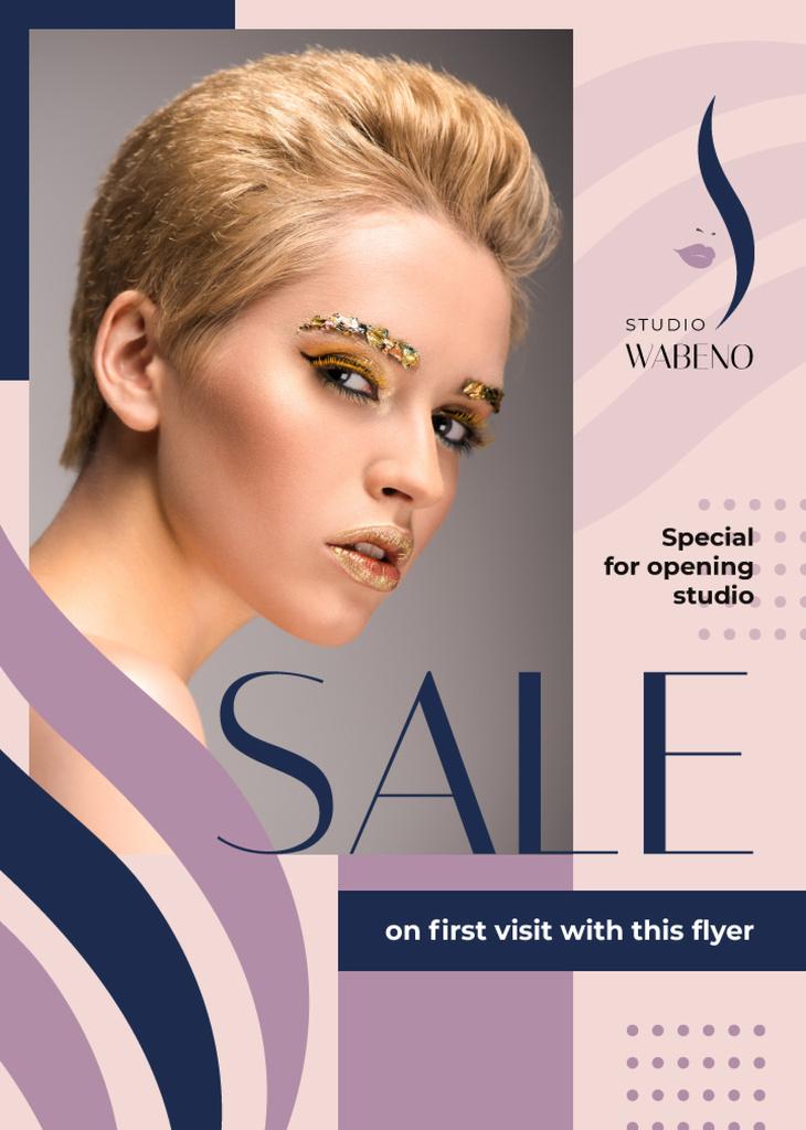 Salon Sale Offer Woman with Creative Makeup | Flyer Template — Crea un design