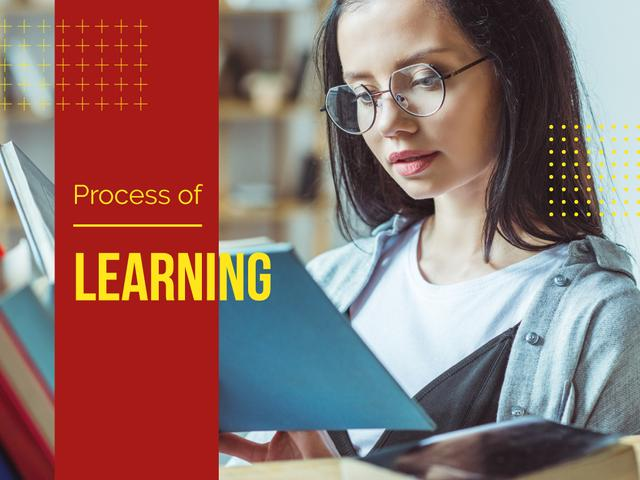 Process of Learning with Girl Reading Book Presentationデザインテンプレート