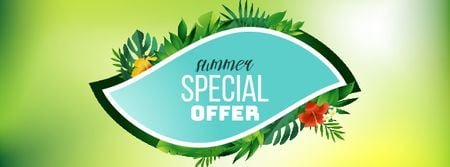 Plantilla de diseño de Special Offer Frame with tropical plants Facebook Video cover