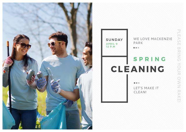 Plantilla de diseño de Ecological Event Volunteers Collecting Garbage Postcard