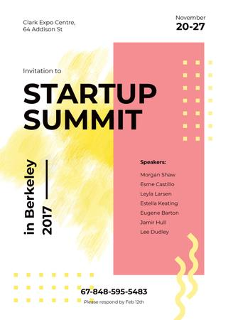 Modèle de visuel Startup Summit ad on Yellow lines and smudges - Invitation