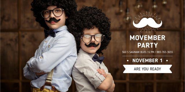 Template di design Boys with mustache and beard masks Image