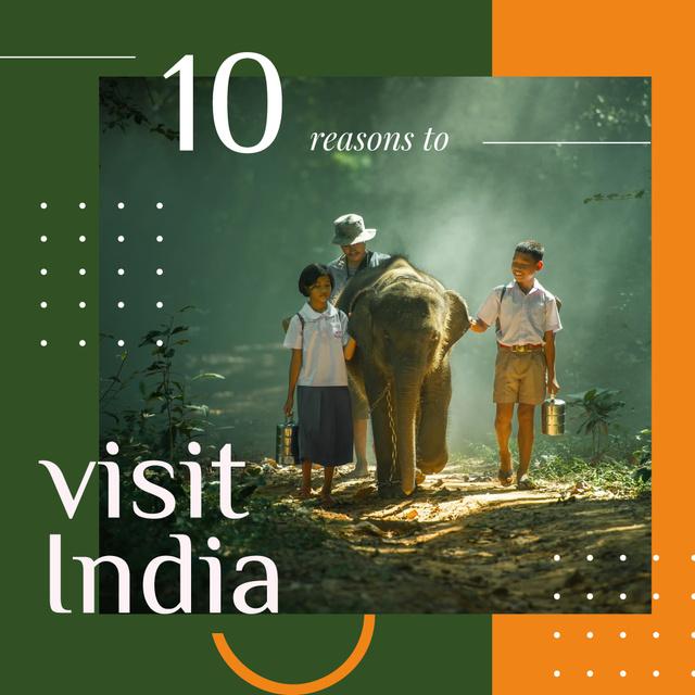 Plantilla de diseño de Kids on a walk with elephant Instagram