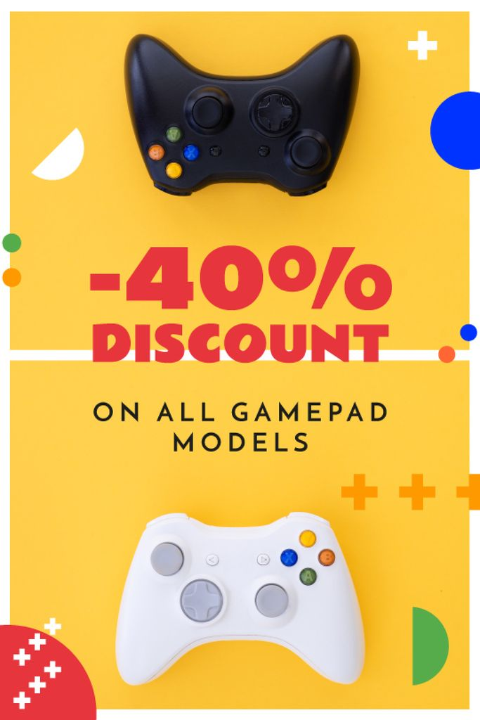 Video Games Ad Gamepads on Yellow — Create a Design