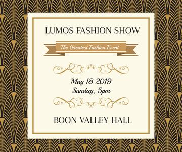 Fashion Show Invitation Golden Art Deco Pattern | Facebook Post Template