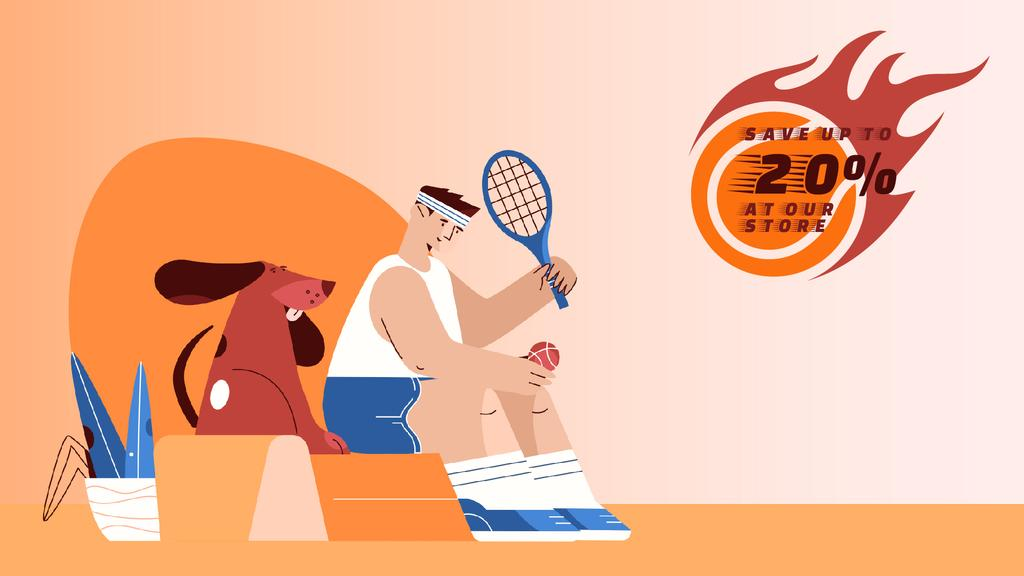 Sporting Goods Sale Tennis Player and Dog — ein Design erstellen