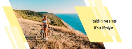 Plantilla de diseño de Cyclist admiring Nature View Facebook cover