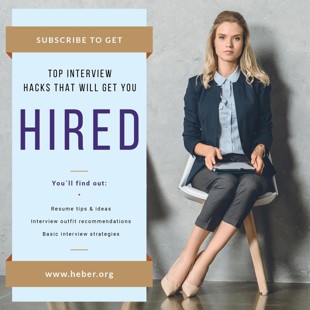 Job Offer Businesswoman Waiting for Interview — Maak een ontwerp