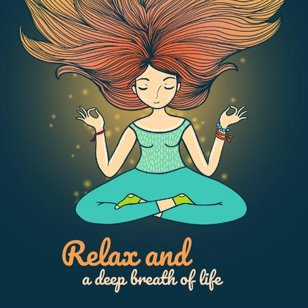 Woman Waving Hair Relaxing and Mediating  Animated Post – шаблон для дизайну