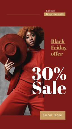 Black Friday Sale Woman Wearing Red Clothes Instagram Story Modelo de Design