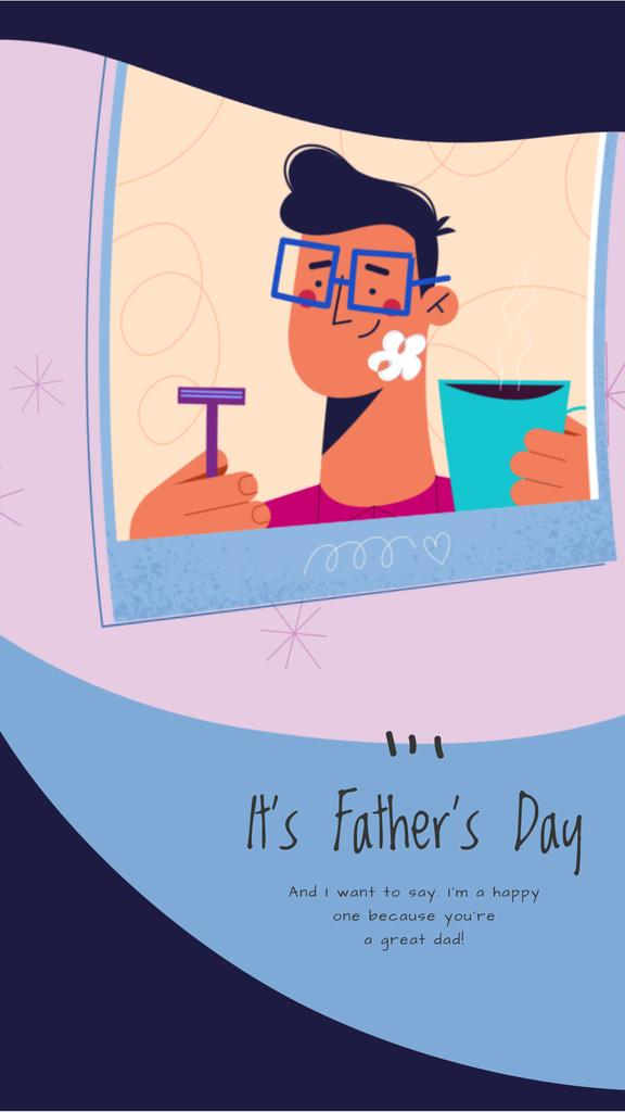 Father's Day Greeting Dad with Kid Shaving | Vertical Video Template — Créer un visuel