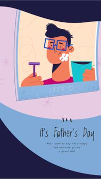Father's Day Greeting Dad with Kid Shaving | Vertical Video Template