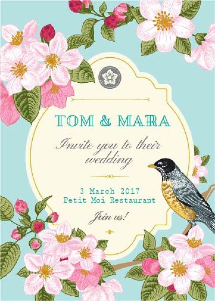 Wedding Invitation with Flowers and Bird in Blue | Invitation Template — Crea un design