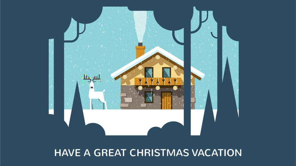 Christmas deer by house in winter — Створити дизайн