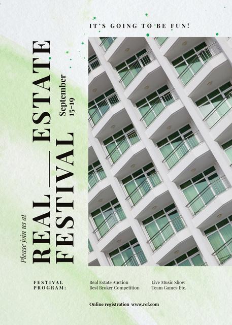 Ontwerpsjabloon van Invitation van Real Estate festival announcement on Modern building