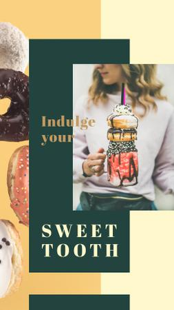 Girl holding sweet freakshake Instagram Story Design Template