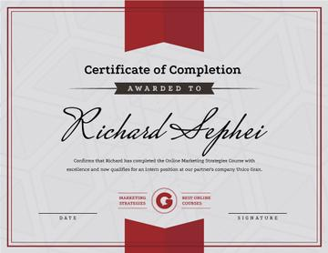 Online Marketing Program Completion in red