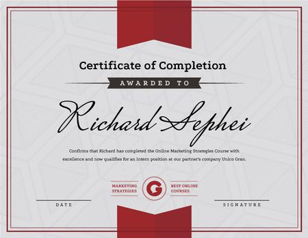 Online Marketing Program Completion in red Certificate Modelo de Design