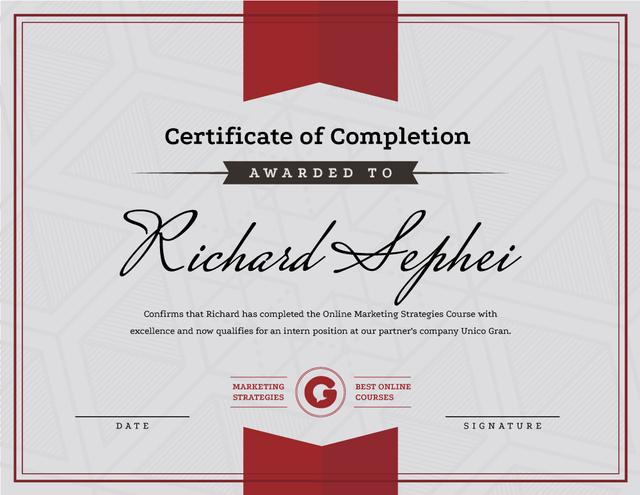 Online Marketing Program Completion in red Certificate Design Template