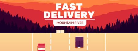 Delivery Service Cars and Trucks on Road Facebook Video cover Modelo de Design