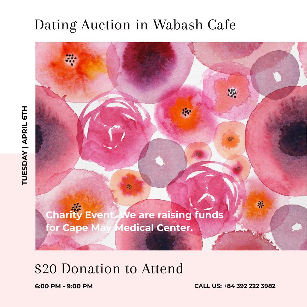 Dating Auction announcement on pink watercolor Flowers — Modelo de projeto